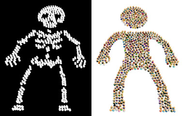Cartoon Crowd Figure, Skeleton Bones