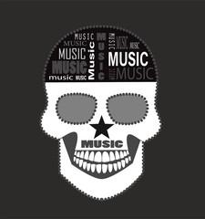 Music skull icon wih brain text