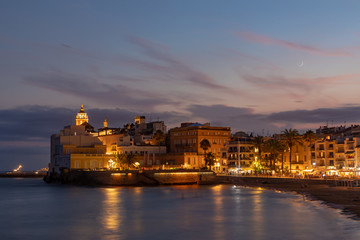 Landscape of Sitges at night