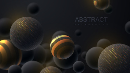 Abstract background with 3d dynamic spheres