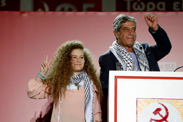 Palestinian teenager Ahed Tamimi, attends the annual festival of Greek Communist Youth in Athens