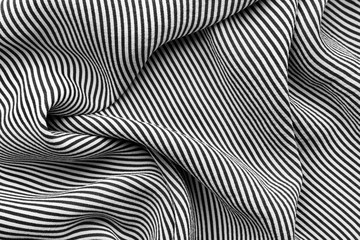 Silk fabric with black and white striped pattern