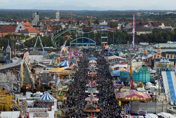 A general view shows the festival ground during the opening day of the 185th Oktoberfest in Munich