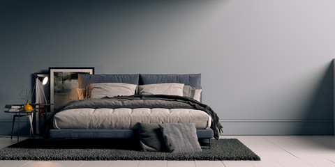 modern bed in minimalistic room