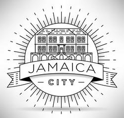 Minimal Jamaica City Linear Skyline with Typographic Design