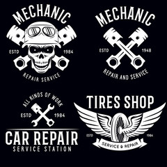 Vintage car service badges, templates, emblems and design elements, garage repair retro labels collection. Included tire service logos, mechanic tools, wrench, pistons and gear.