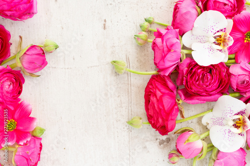 Floral Composition Frame Made Of Ranunculus Flowers On White