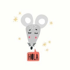 Cute mouse head vector illustration. Design element, clipart