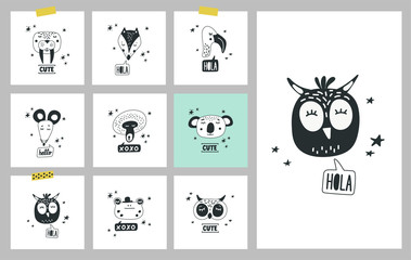 Cute animals heads set of vector illustrations. Design element, cards