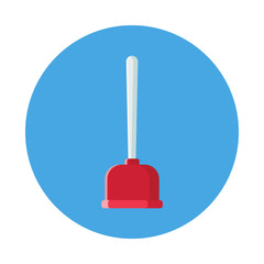 Toilet plunger flat icon isolated on blue background. Simple plunger sign symbol in flat style. Bathroom equipment Vector illustration for web and mobile design.