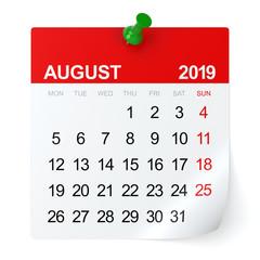 August 2019 - Calendar.