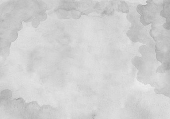 Beautiful grey watercolor background on white paper. For the text, textures, banners, leaflets, posters, logo, design. Hand drawn abstract artwork painting