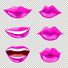 Set of women lips with trendy pink lipstick colors. Shiny lip gloss. Vector illustration for web, makeup booklet and posters, fashion and beauty prints.