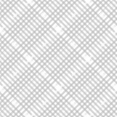 Plaid check pattern in pastel grey, dusty beige and white. Seamless fabric texture. Diagonal print.