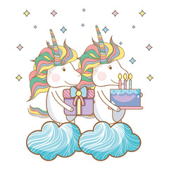 Happy birthday unicorn cartoons