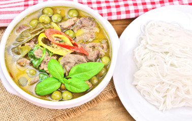 Beef green curry with rice noodles..Thai Beef with curry menu.