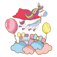 Happy birthday unicorn cartoons