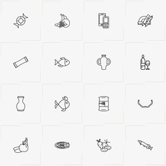 Product Categories line icon set with fruits , vase and vegetables