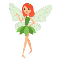 Beautiful fairy dances in her colorful outfits and green dress