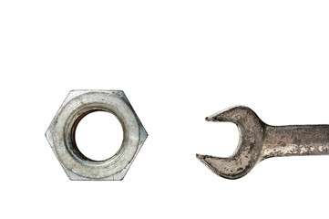 Old wrench and nut