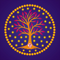 The tree of life with the Aum / Om / Ohm sign in the center of the mandala on the background of the stars and the blue sky. Symbol graphics, logo, symbol, sign. Vector drawing.