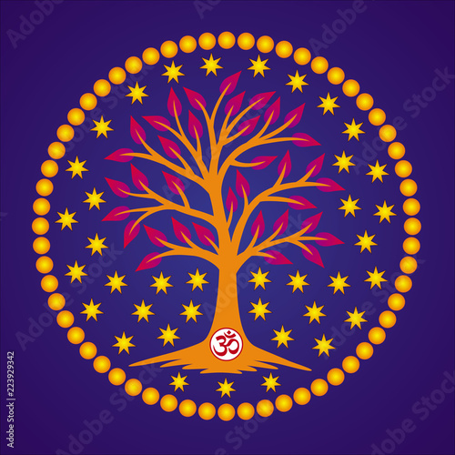 The Tree Of Life With The Aum Om Ohm Sign In The Center Of The