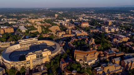 Spoed Fotobehang Stadion University of Tennessee and Football stadium in the light of morning summer time
