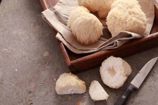 preparing fresh pompom mushrooms