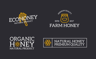 Set of retro vintage honey and bee, honeycomb, dipper logo or insignia, emblems, labels and badges and other branding objects. line style