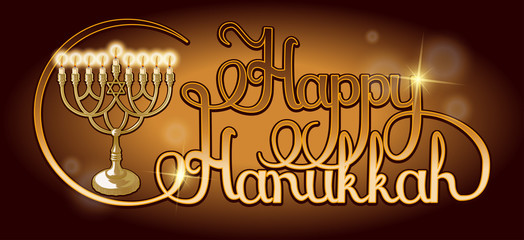 Vector Happy Hanukkah hand lettering. Festive poster, greeting card template with Menorah.