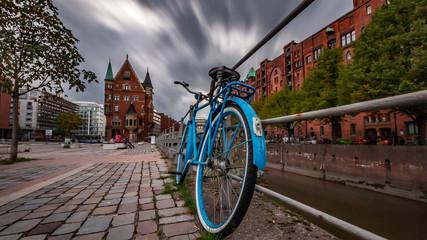 Hamburg, Rad in der Speicherstadt