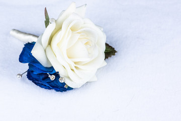 blue and cream corsage