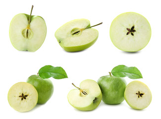 Set with delicious cut green apples on white background