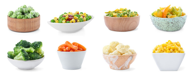 Set with frozen vegetables in bowls on white background