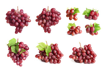 Set with juicy ripe grapes on white background Fototapete