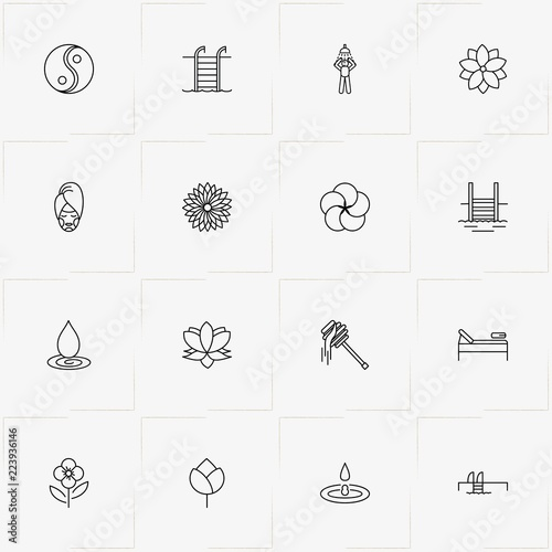 Sauna Spa Line Icon Set With Spa Mask Yin Yang And Water Drop