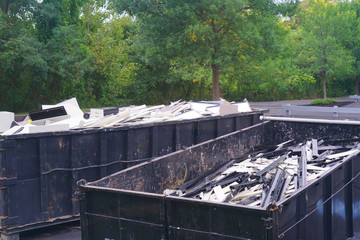close up on waste in dump container