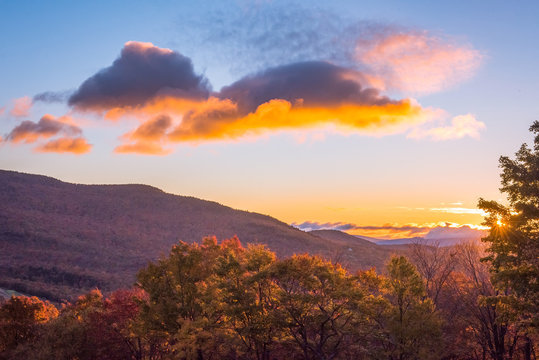 Fall Morning at Ski Area in Stowe, Vermont