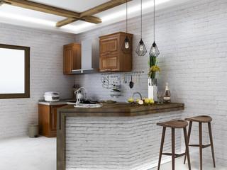 European retro kitchen design