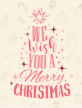 We wish you a merry christmas Calligraphic lettering text. Holiday, greeting cards, poster, decoration.