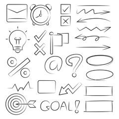 hand drawn elements, arrows, ticks, light bulb and dart
