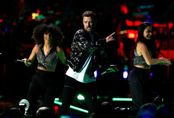 Justin Timberlake performs with dancers during the iHeartRadio Music Festival at T-Mobile Arena in Las Vegas