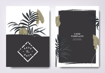 Botanical wedding invitation card template design, green leaves and black palm leaves with black grunge frame, minimalist vintage style
