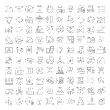 smart farm icons set, automated farming and agriculture icons
