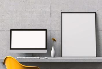 Mockup blank poster with desktop computer on desktop. 3D render.