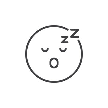 Asleep face emoji outline icon. linear style sign for mobile concept and web design. Sleeping smiley emoticon simple line vector icon. Symbol, logo illustration. Pixel perfect vector graphics