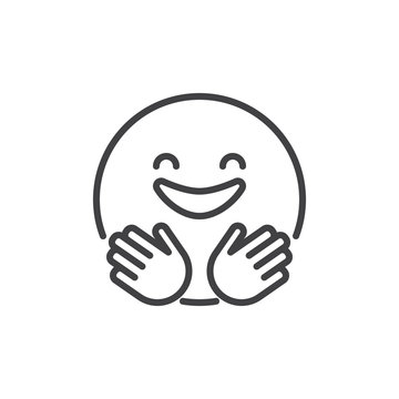 Hugging smiling face emoji outline icon. linear style sign for mobile concept and web design. Happy emoticon simple line vector icon. Symbol, logo illustration. Pixel perfect vector graphics