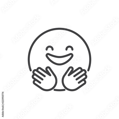 Hugging Smiling Face Emoji Outline Icon Linear Style Sign For