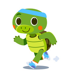 Vector cute turtle character running isolated on white background
