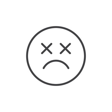 Dead emoticon outline icon. linear style sign for mobile concept and web design. Sad smiley face emoji simple line vector icon. Symbol, logo illustration. Pixel perfect vector graphics